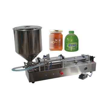 Semi-automatic horizontal sticky and thick liquid  filling machine with hopper