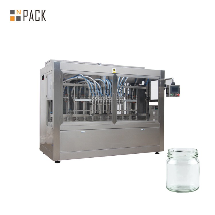 Npack Servo Motor Driven Linear Type Piston Hot Sauce Chili Sauce Glass Jar Filling Machine